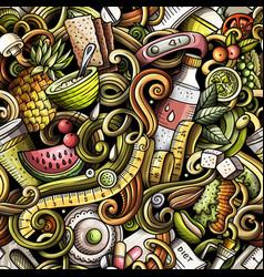 Cartoon cute doodles hand drawn diet food seamless vector