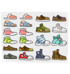 cartoon different shoes and soks icons vector image