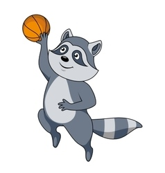 Cartoon raccoon player with ball vector