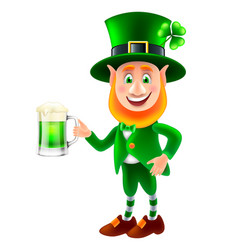 cartoon saint patrick with beer isolated vector image