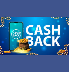 Cash back banner with a bag gold coins with vector