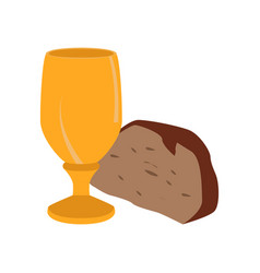 Chalice with bread piece vector