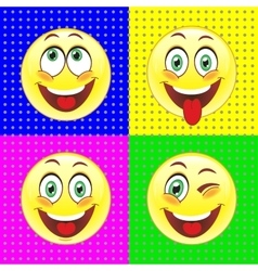 Cheerful smiles on bright backgrounds vector image