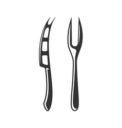 cheese knife and fork vector image