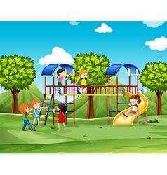 Children climbing up the playhouse vector