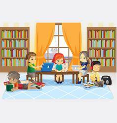 Children in library vector