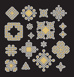chinese and celtic endless knots and patterns vector image