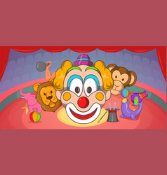 circus horizontal banner clown cartoon style vector image