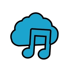 Cloud music note sound dj icon graphic vector