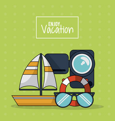 Colorful poster of enjoy vacation with sailboat vector