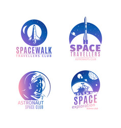 Colorful retro style space logo set vector