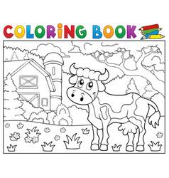 coloring book cow near farm theme 1 vector image