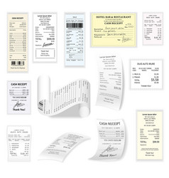 commercial cheques flat set isolated on vector image