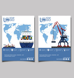 Commercial sea shipping banner set vector