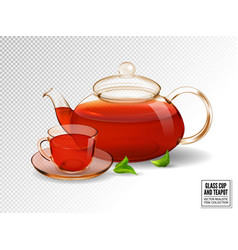 composition of a glass cup and tea pot with tea vector image