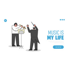 Concept of symphony orchestra website landing vector