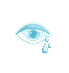 crying eye eye with teardrop vector image