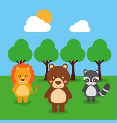 cute babies lion bear raccoon animals in the vector image
