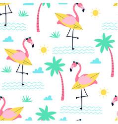 Cute flamingo print design seamless pattern vector