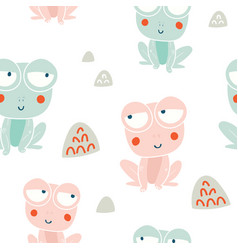 Cute frogs characters seamless pattern vector