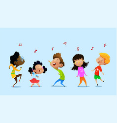 dancing cartoon children vector image