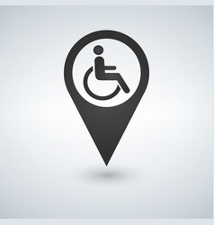 disabled handicap sign in map pointer vector image
