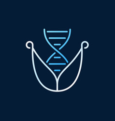 Dna with leaves line colored icon on dark vector