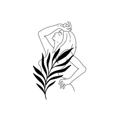female face with palm leaf isolated on white vector image