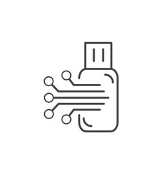 flash usb electronic circuit technology icon line vector image