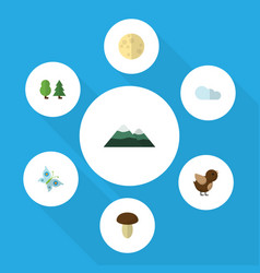 Flat icon ecology set of monarch peak lunar and vector