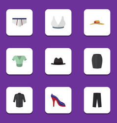 Flat icon garment set casual brasserie pants vector