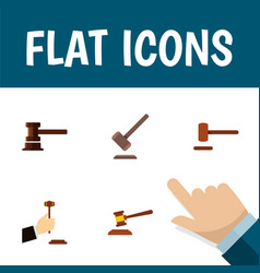 flat icon hammer set of government building vector image