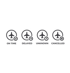 flight status icons airport information - on time vector image