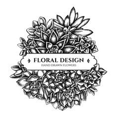 floral bouquet design with black and white vector image