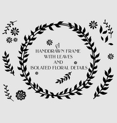 floral frame and isolated floral elements vector image