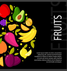 fruits on black background with vector image