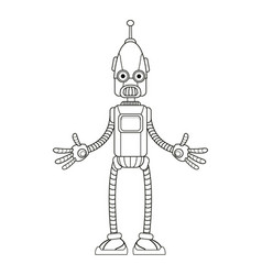 Funny robot technology toy thin line vector