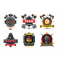 game emblem set cyber sport team signs vector image