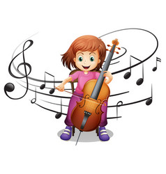 Girl playing cello alone vector