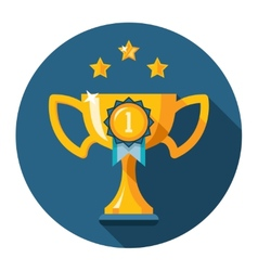 Gold winner trophy cup flat icon vector image