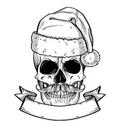hand drawn angry skull santa claus vector image