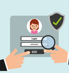 Hand website login magnifying glass and check mark vector