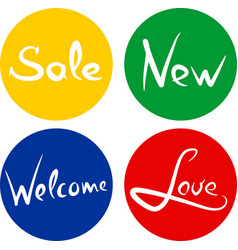 handwritten words sale love new welcome vector image