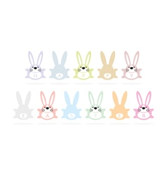 Happy easter bunny greeting card vector