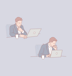 Ill businessman sick leave at workplace concept vector