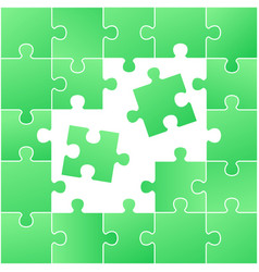 incomplete green jigsaw puzzle with stray pieces vector image