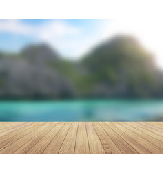 Island blue sky with clouds and wood planks floor vector