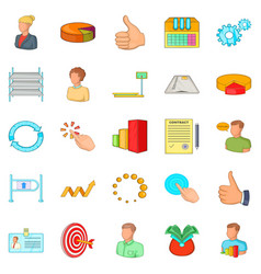 Joint-stock company icons set cartoon style vector