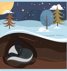 Let it snow skunk sleeping in the hole vector