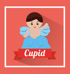 love cute cupid in cloud waving hand vector image